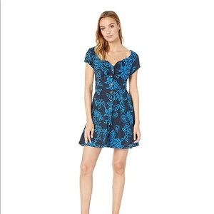 Free People Blue Floral Button Dress NWT